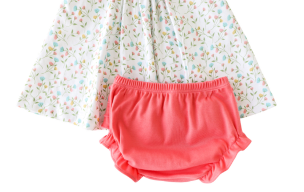 Pineapple Sunshine Pink Arabella Smocked Dress with bloomer