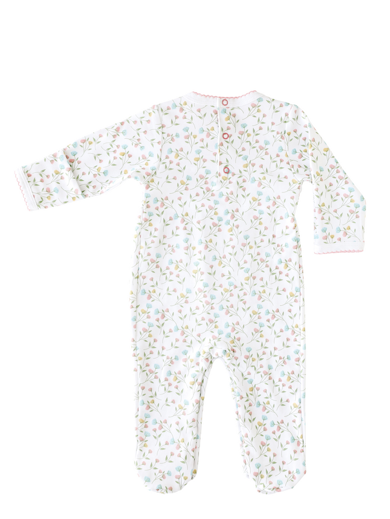 Pineapple Sunshine Pink Arabella Smocked Footie- Little Birdies