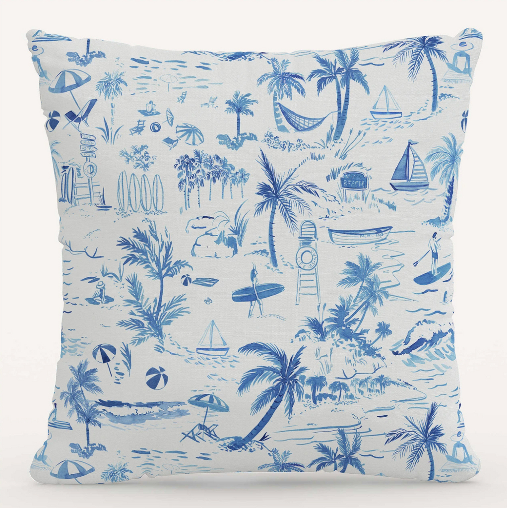 Gray Malin x Cloth and Co The Beach Toile Pillow- Little Birdies
