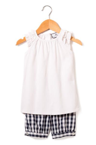 Margaux White with Navy Gingham Short Set