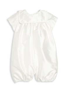 Charming Elegant Boy's Silk Romper and Bonnet