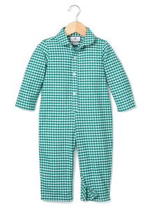 Green Gingham Romper