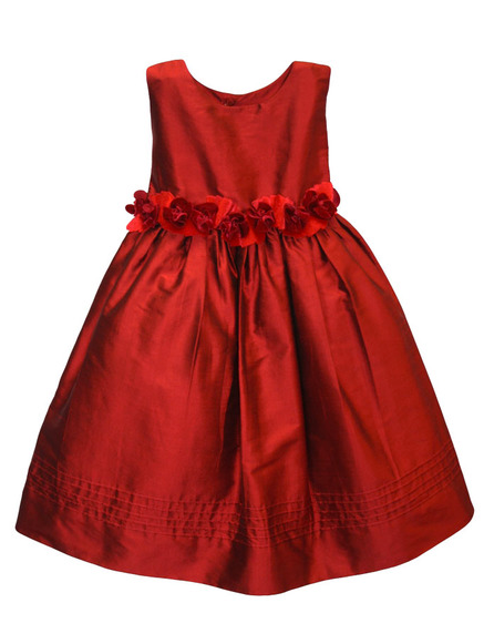 Red Silk Dress with Velvet Flower Sash