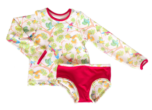 Cartagena Rash Guard with Parrots Swimsuit