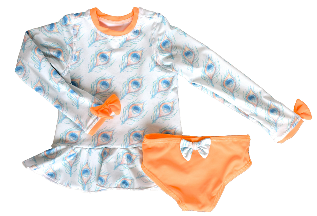 Isabella Rash Guard Swimsuit in Peacock Print