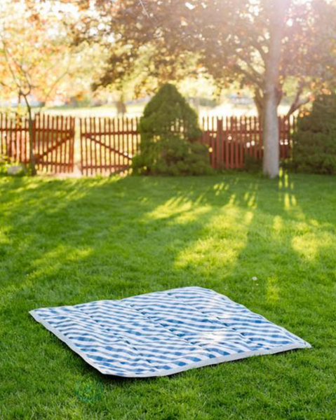 Outdoor Blanket - Navy Gingham 5x5