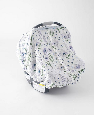 Cotton Muslin Car Seat Canopy-Blue Windflower