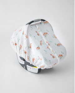 Cotton Muslin Car Seat Canopy-Fox
