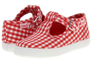 Cienta shoes red gingham t-strap shoe - little birdies boutique