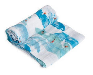 Cotton Muslin Swaddle Single - Surf