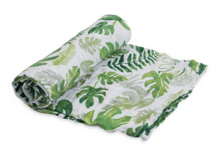 little unicorn tropical leaf swaddle blanket