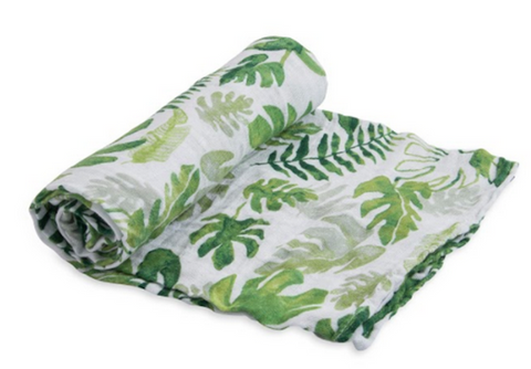 Cotton Swaddle - Tropical Leaf
