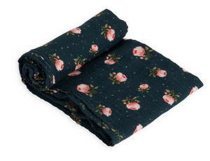 Cotton Muslin Swaddle Single-Midnight Rose