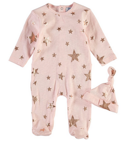 Pink Gold Star Footie and Hat