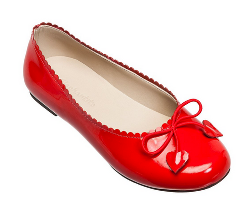 Red Patent Ballet Flat with Heart Tassles