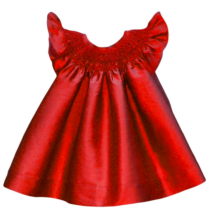 Red Smocked Silk Bishop