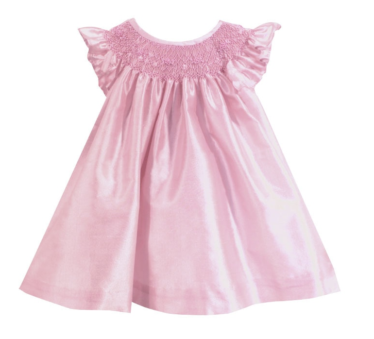 Baby Pink Silk Smocked Bishop