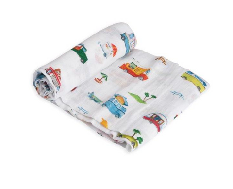 little unicorn food truck swaddle- little birdies boutique