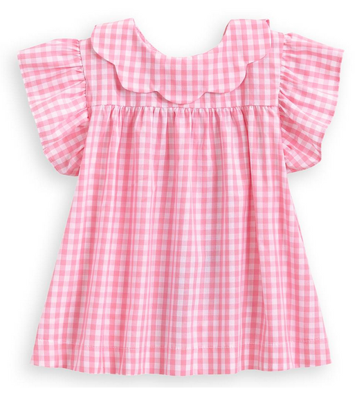 Spring Toulouse Blouse-Pink Check