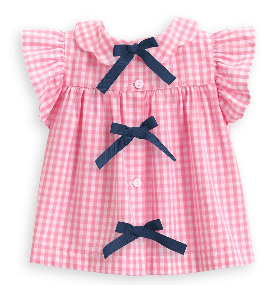 spring toulouse blouse in pink check bella bliss