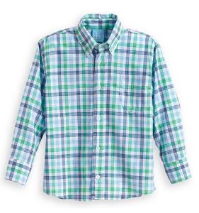 green and blue check buttondown shirt from bella bliss color seafarer