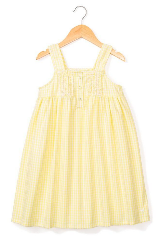 petite plume yellow gingham charlotte gown