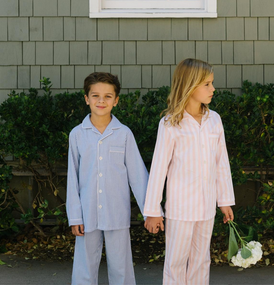 French Blue Seersucker Pajama Set