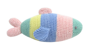 A 100% cotton crochet rainbow fish rattle toy