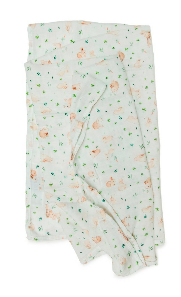 loulou lollipop bunny meadow swaddle blanket