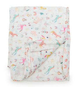 loulou lopplipop unicorn dream swaddle blanket