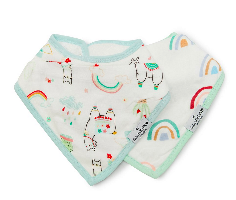 loulou lollipop bandana bib set llama/rainbow