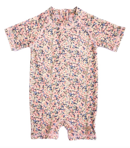 Wheat clothing brand micro floral short sleeve with shorts swim suit