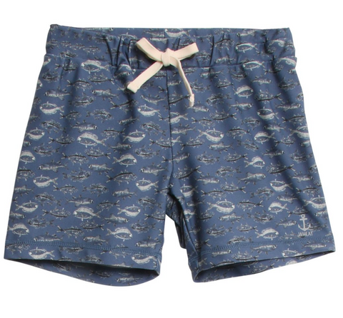 wheat clothing brand eli baby swim shorts in navy with fish print