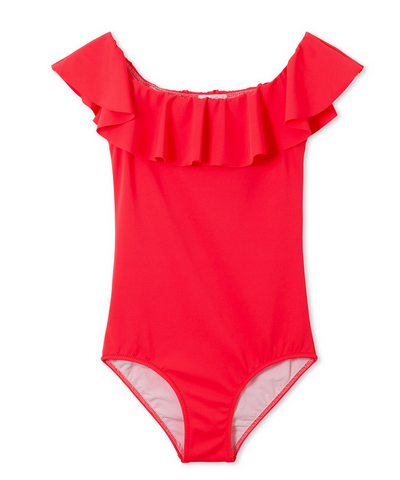 Coral Ruffle Swimsuit