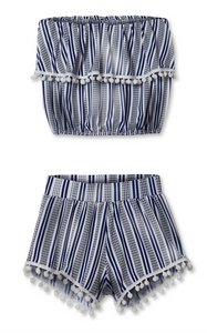 stella cove blue and white stripe short set with pom pom