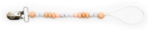 bella tunno payton peach pacifier clip with teething beads chew beads
