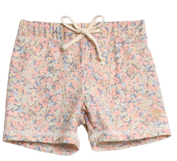 wheat girls floral swim shorts in eli sky