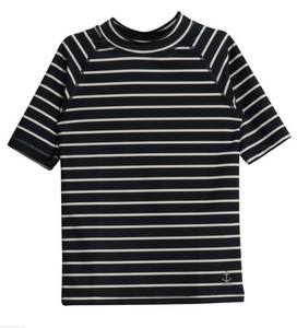 wheat clothing navy stripe short sleeve swim shirt
