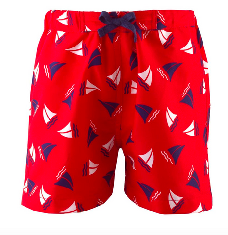 Rachel Riley Boys red sailboat swim shorts swimsuit