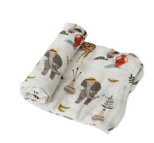 little unicorn safari social baby swaddle little birdies boutique