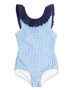 Blue Gingham Ruffle Collar One Piece