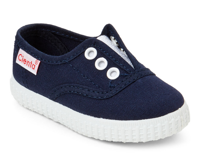 cienta shoes navy laceless slip on shoes - little birdies boutique