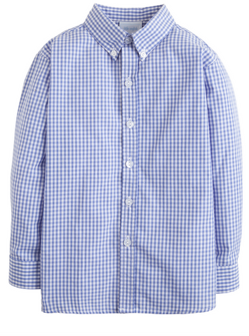 little english blue gingham button-down