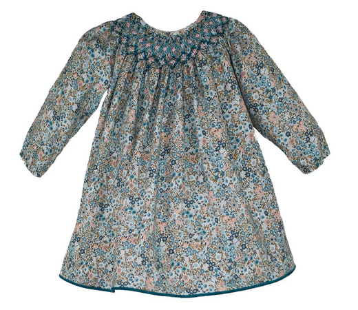Long Sleeve Hand Smocked Cotton Teal Floral Baby Bishop