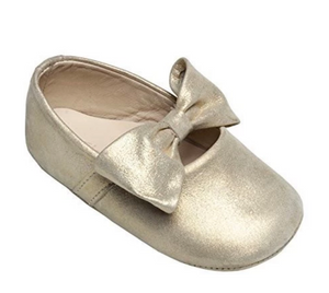 elephantito gold baby ballerina with bow