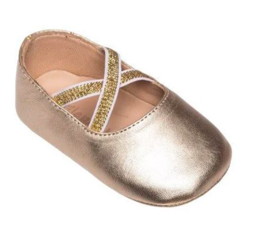 elephantito baby and child gold crossed ballerina shoes