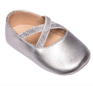 elephantito baby and child crossed ballerina baby crib shoe in silver