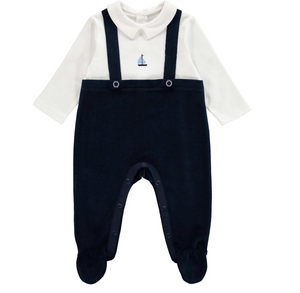 rachel riley baby boy sailboat strap romper navy ivory velvet footie