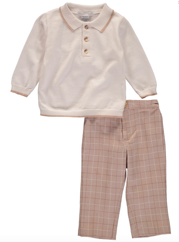 carriage boutique 2 piece beige pant set for boys