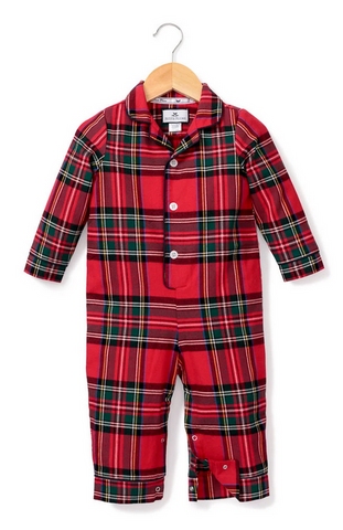Petite plume imperial tartan baby romper holiday pajama